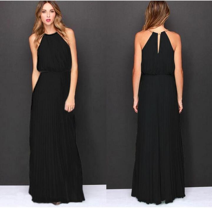 Fashion Style Chiffon Lanon Polyester Halter Dress Cute Sexy Maxi Solid Sleeveless Pleated Dress black xl