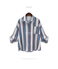 Long Sleeve Striped Blouse Women Large Size Loose Casual Shirt Women tops blue s