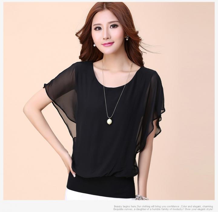 Women Tops Summer Chiffon Blouse Plus Size Ruffle Batwing Short Sleeve Casual Shirt black s
