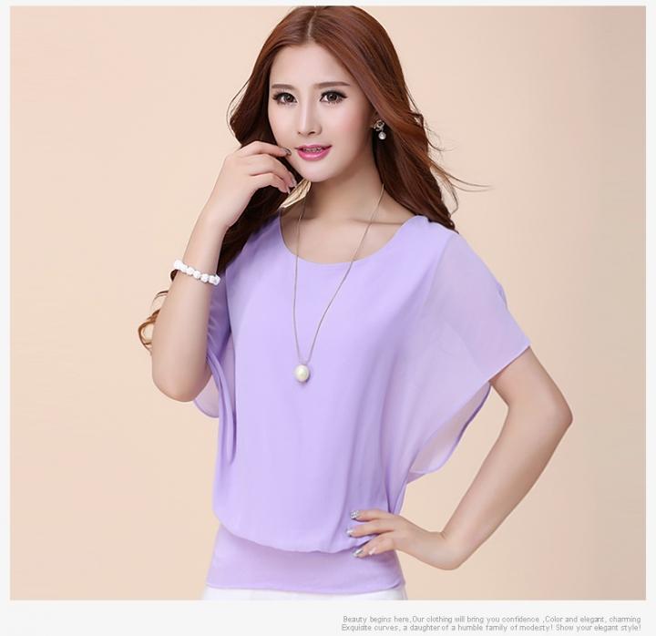 Women Tops Summer Chiffon Blouse Plus Size Ruffle Batwing Short Sleeve Casual Shirt purple xxl