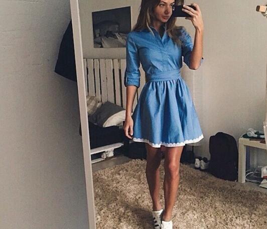 BEFORW Autumn New Fashion Lace Women Dress Leisure Slim Denim Dress Vintage Cute blue m