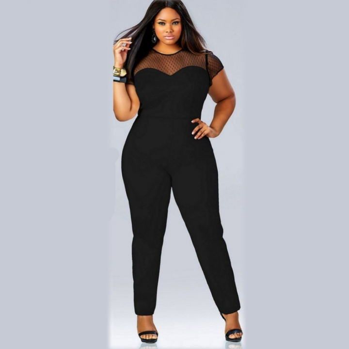 New Arrival Bodycon Women Rompers Sexy Skinny Lace Patchwork Soild O-Neck Jumpsuits black xxl