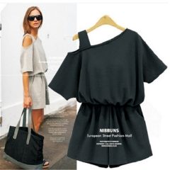 Women Casual Jumpsuits dress New Women's Summer Short Sleeve Womens Jumpsuits Rompers black l