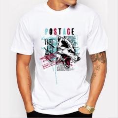 Wofe Men's Print T-Shirts FASHION O-Neck Men's Clothing Basic T-Shirts Casual Cotton T-shirt white xl
