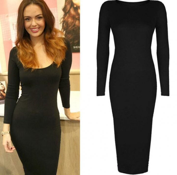 Women Casual Wear To Work Business Bodycon Sundress Party Pencil Dress black m