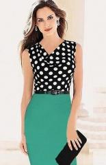 Women Elegant Polka Dot Dress Block Short Sleeve Pleated dress green xl