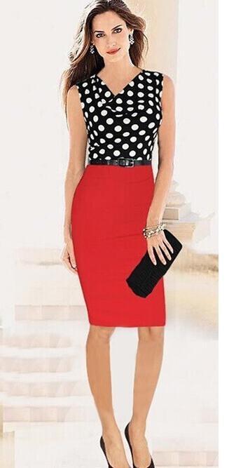 Women Elegant Polka Dot Dress Block Short Sleeve Pleated dress red s