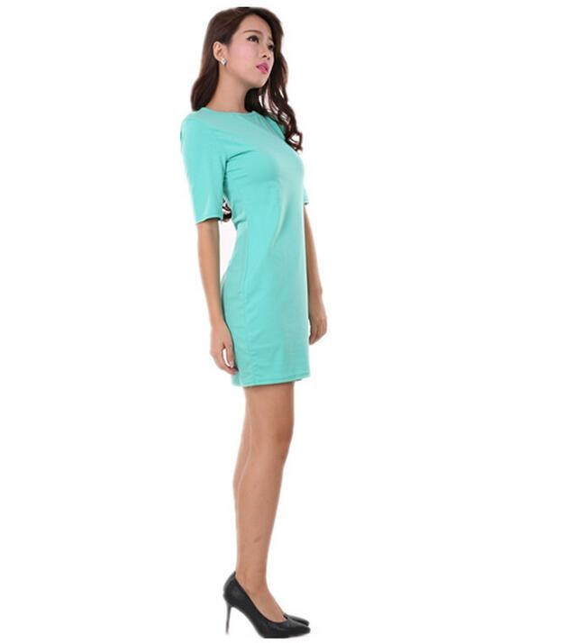 Womens Dress Formal V Neck Casual Office Wear Working Bodycon Knee Length green l