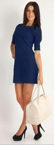 Womens Dress Formal V Neck Casual Office Wear Working Bodycon Knee Length blue m