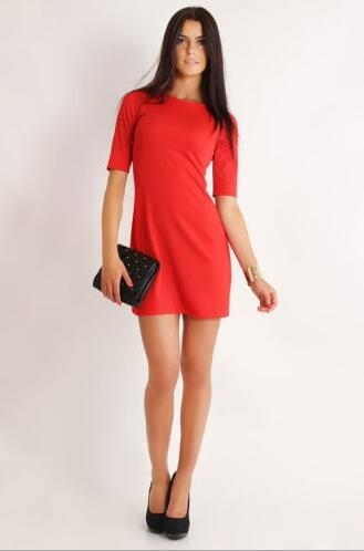 Womens Dress Formal V Neck Casual Office Wear Working Bodycon Knee Length red xl