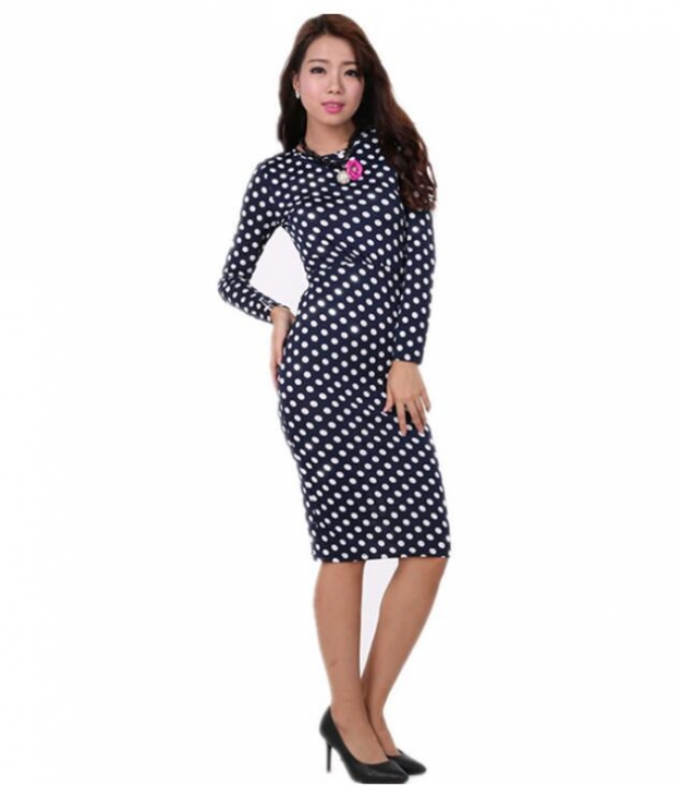 Womens Elegant VintagePolka  Belted Tunic Pinup Wear To Work Office Casual Party A Line Skater Dress blue xl