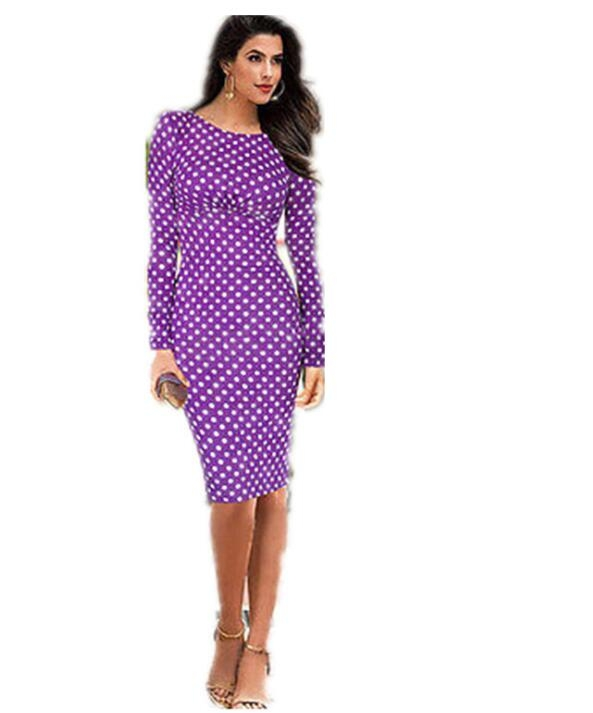 Womens Elegant VintagePolka  Belted Tunic Pinup Wear To Work Office Casual Party A Line Skater Dress purple xl
