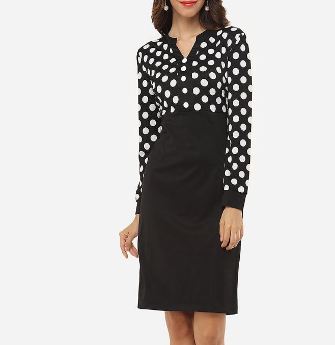 Womens Vintage Summer Polka Dot Belted Tunic Pinup Wear  Casual Party A Line Skater Pencil Dress black s