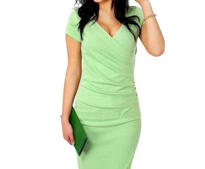 Women Summer Dress Sexy V-Neck Zipper Vintage Casual Wear To Work  Party Club Bodycon Pencil Dress green xxl