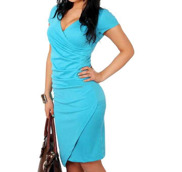 Women Summer Dress Sexy V-Neck Zipper Vintage Casual Wear To Work  Party Club Bodycon Pencil Dress blue xl