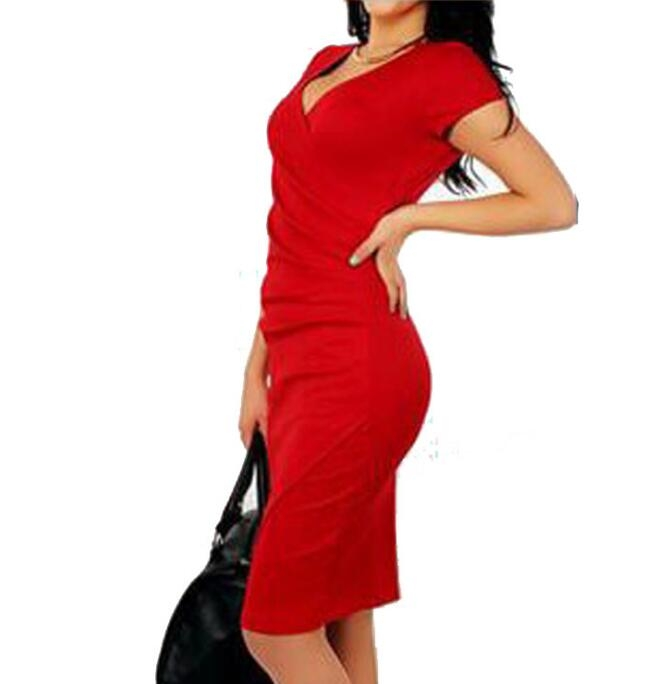 Women Summer Dress Sexy V-Neck Zipper Vintage Casual Wear To Work  Party Club Bodycon Pencil Dress red s