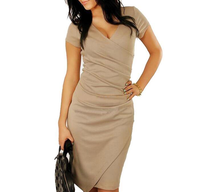 Women Summer Dress Sexy V-Neck Zipper Vintage Casual Wear To Work  Party Club Bodycon Pencil Dress khaki s