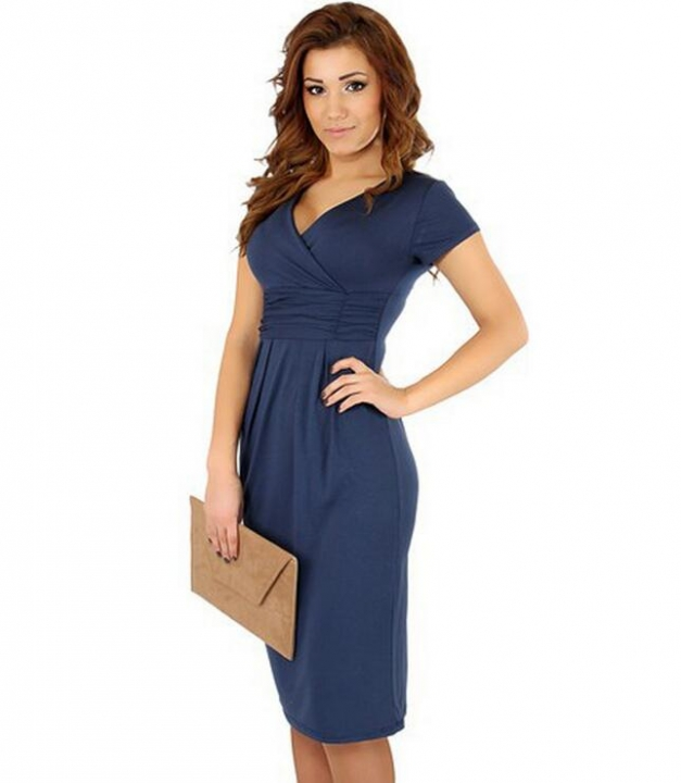Fashion Pregnancy Dresses For Pregnant Women Maternity Clothes Autumn Winter Dresses drak blue m