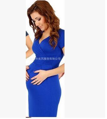 Fashion Pregnancy Dresses For Pregnant Women Maternity Clothes Autumn Winter Dresses blue 4xl