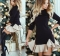 Women Embroidery Striped Dress O Neck Half Sleeve Ladies Summer Casual Mini Dresses black s