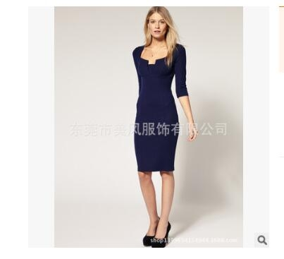 Women Asymmetric Neckline  Ruched Draped Work Office Casual Party Bodycon Sheath Vestidos Dress drak blue m