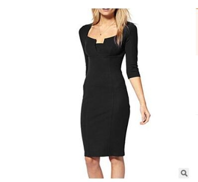 Women Asymmetric Neckline  Ruched Draped Work Office Casual Party Bodycon Sheath Vestidos Dress black xl