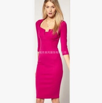 Women Asymmetric Neckline  Ruched Draped Work Office Casual Party Bodycon Sheath Vestidos Dress rose red m
