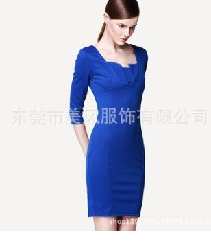 Women Asymmetric Neckline  Ruched Draped Work Office Casual Party Bodycon Sheath Vestidos Dress blue xxl