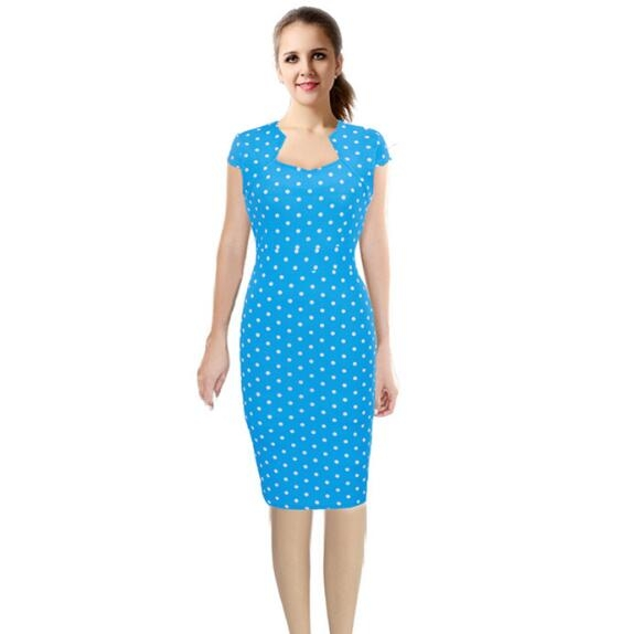 Women's Vintage 1950's Retro Dot Fit And Flare Cotton Blend Spring Garden Party Picnic Tunic Dress blue s
