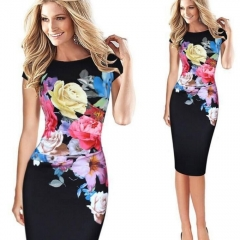 Women's Clothes Floral Print Party Midi Pencil Dress black m