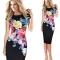 Women's Clothes Floral Print Party Midi Pencil Dress black s