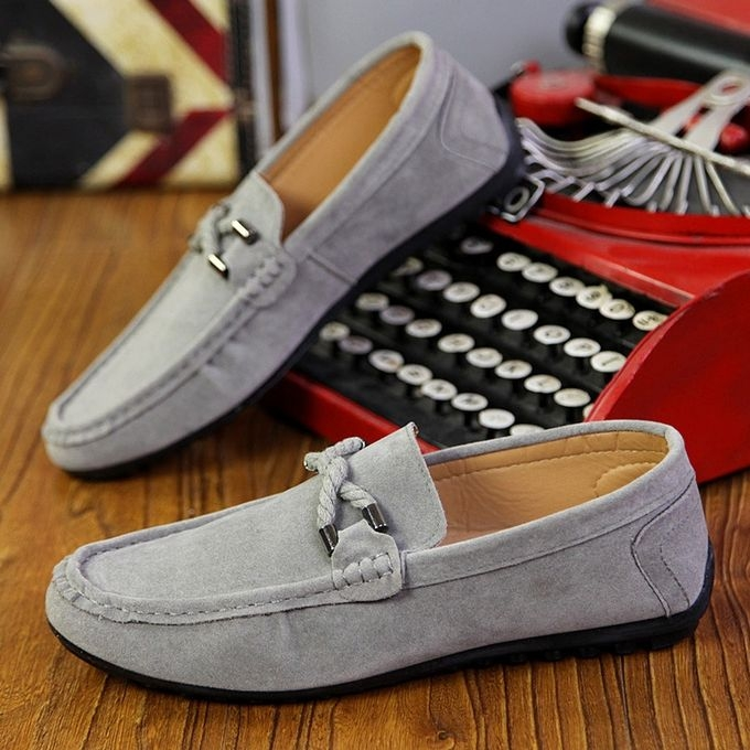 High Quality Doug Shoes Men Fall Boat Shoes Leather All-match Casual Pedal Set Foot Driving Shoes grey 44