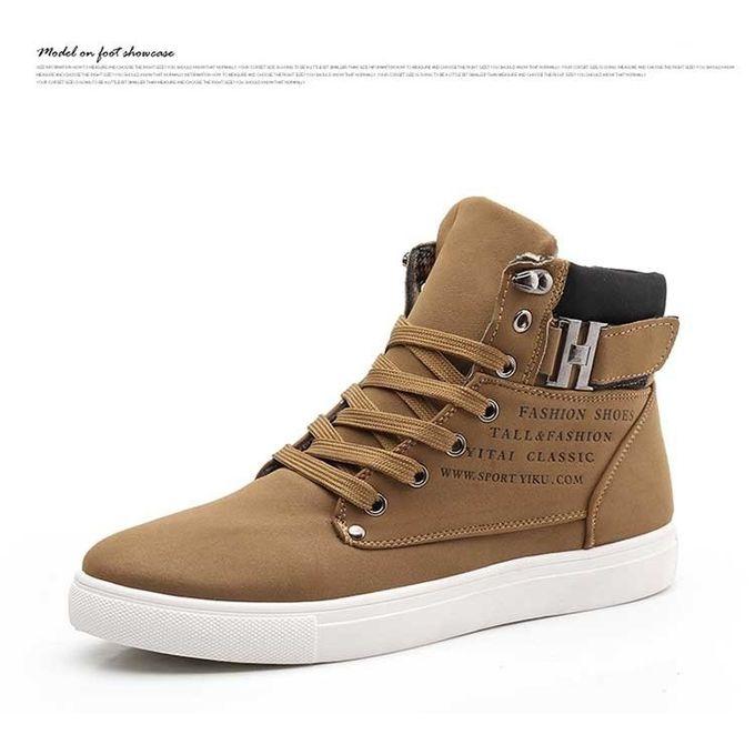 Hot Men's Shoes Hot Fur Winter Boots Leather Shoes For Men New High Top Canvas Casual Men's Shoes khaki 46