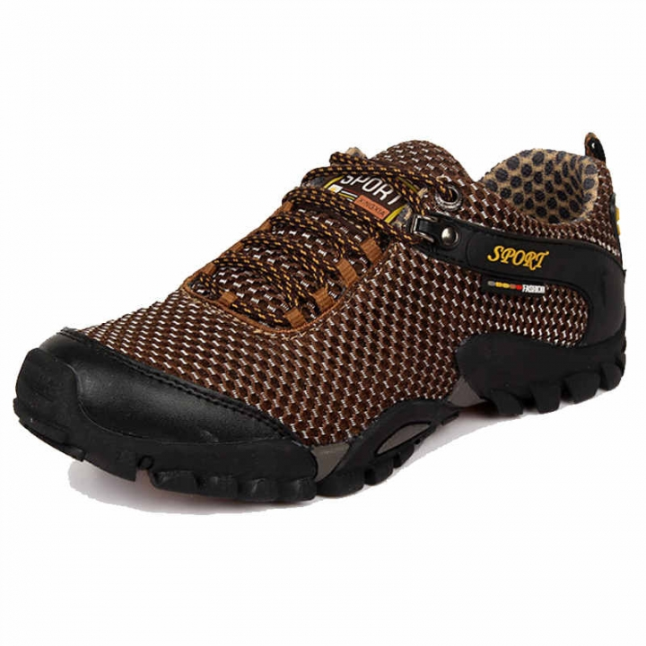 Men Outdoor Trekking Hiking Shoes Boots Breathable Mesh Sports Climbing Mountain Shoes brown 44