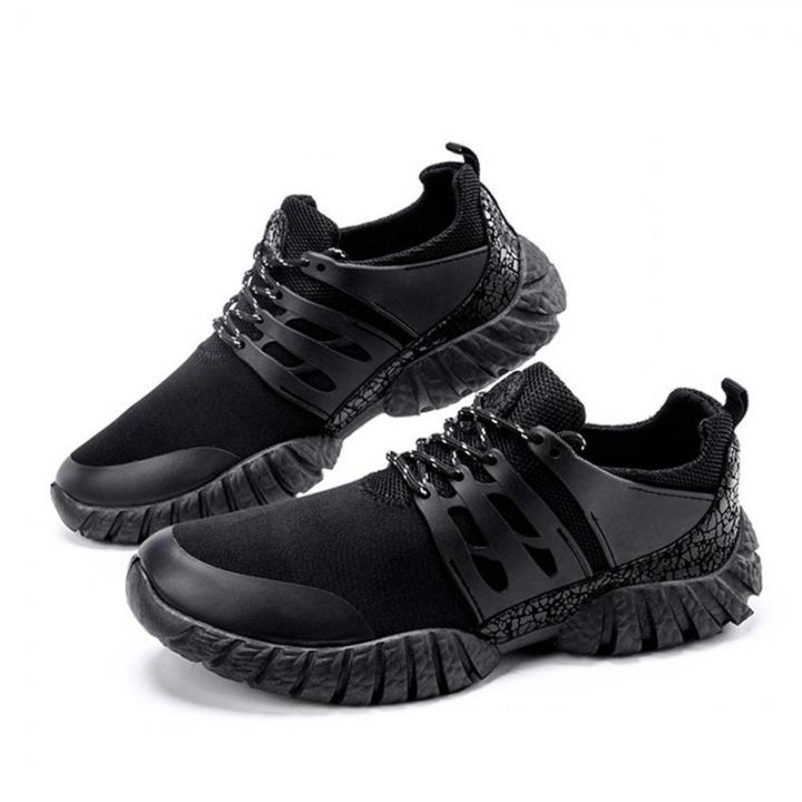 Men Casual Shoes Breathable Lace-Up Sapatos Casuais Light Men Shoes Male Zapatillas Hombre Anti-skid black 44