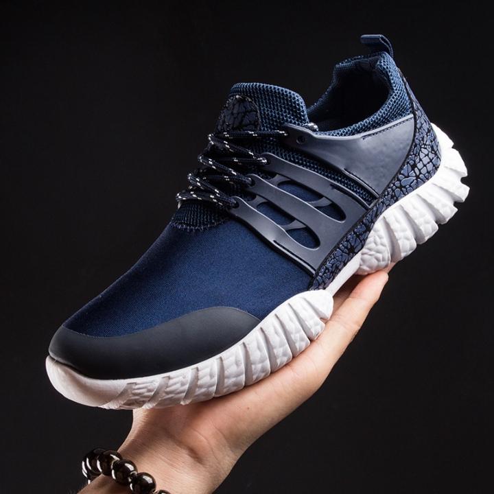 Men Casual Shoes Breathable Lace-Up Sapatos Casuais Light Men Shoes Male Zapatillas Hombre Anti-skid blue 44
