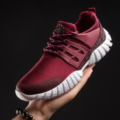 Men Casual Shoes Breathable Lace-Up Sapatos Casuais Light Men Shoes Male Zapatillas Hombre Anti-skid red 43