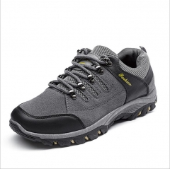 Men Mountain Hiking Shoes Leather Hunting Boots Autumn Winter Mens Outdoor Sport Shoes grey 42