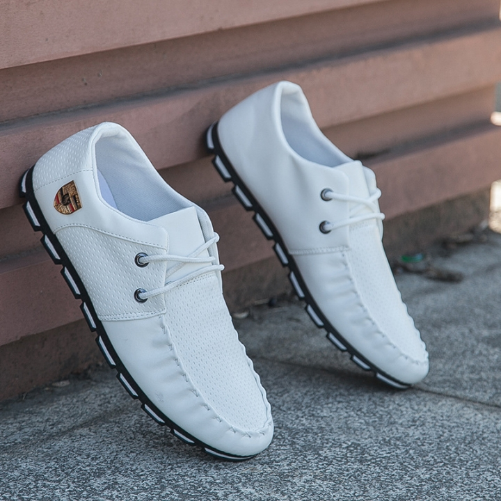 ew Brand Fashion Summer Soft Moccasins Men Loafers High Quality Genuine Leather Shoes white 42