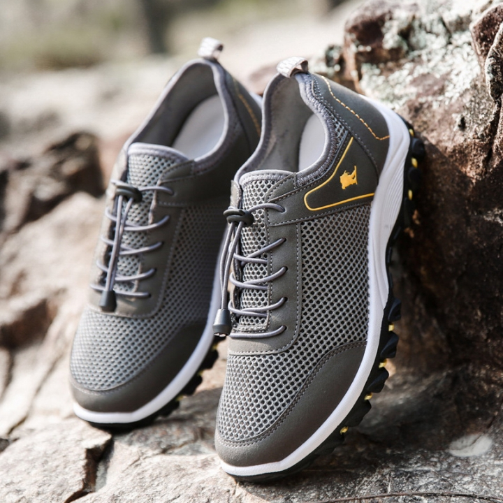 Mesh Hiking Shoes Mens Elastic Band Height Increasing Sport Shoes Outdoor Climbing Shoes grey 41