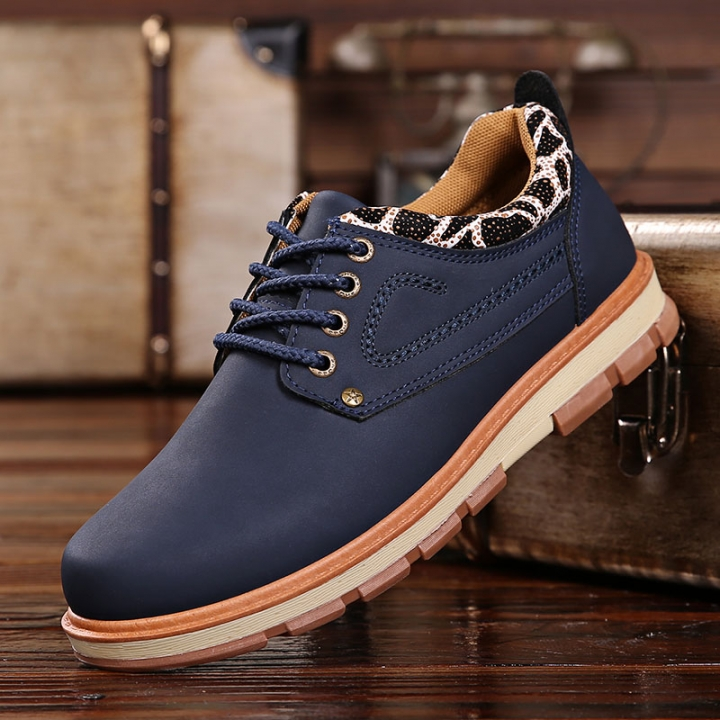 Men Work Casual Shoes Made Of Good PU Fashion Zapatos Hombre Business Leisure Men Leather Shoes blue 44