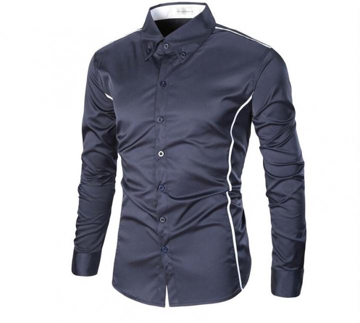 Men's shirt male joker business British Slim Fit shirt Men's solid color Stripe long sleeve shirt blue xxl