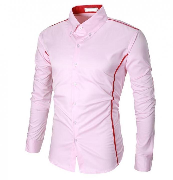 Men's shirt male joker business British Slim Fit shirt Men's solid color Stripe long sleeve shirt pink m