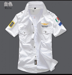 New Arrive Mens Cargo Shirt Men Casual Shirt Solid Short Sleeve Shirts Work Shirt white s