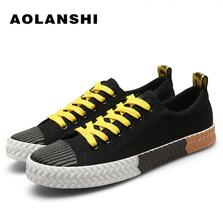 Breathable Low Canvas Shoes Mens Anti-Odor Light Lace-Up Casual Shoes black 44