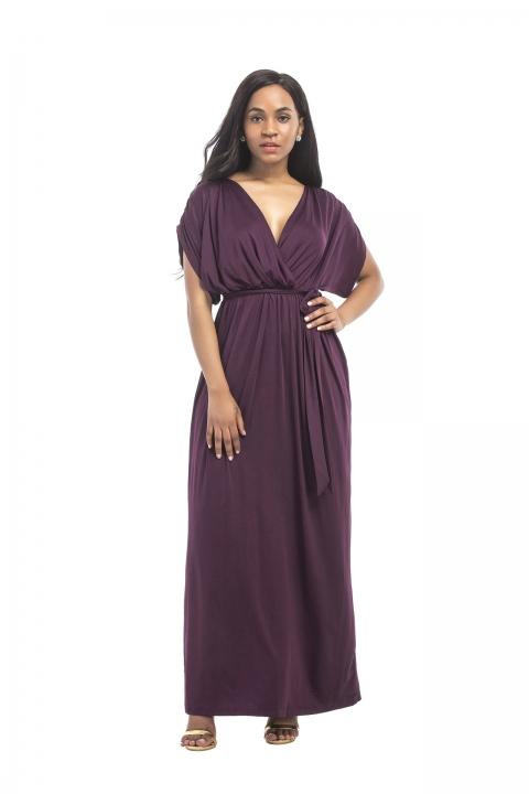 a033fd49737d New Fashion Dresses For Ladies Big Size Dress Pure Color V-neck Loose Big  Swing