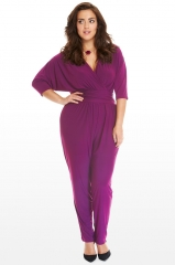 Women's V-neck Lace  V-neck Bat Sleeves Full Length Female Wild Party  Jumpsuits Jackets Jumpsuits purple 3xl