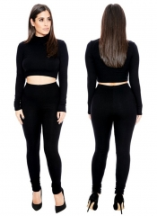 Women's Pure Color Sports Long Sleeves Sexy Two-piece Suit Slim Jumpsuits Summer Jackets Jumpsuits black s