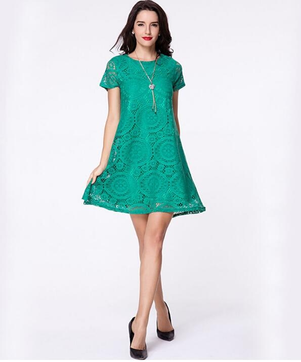 Summer High Quality Floral Lace Plus Size Dress Women Clothing Dress green xxl