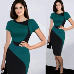 New Fashion Elegant O-neck Sleeveless Knee-length Women Optical Illusion Slimming Dresses green xxl